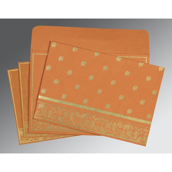 BURNT ORANGE HANDMADE SILK SCREEN PRINTED WEDDING CARD : D-8215L - 123WeddingCards
