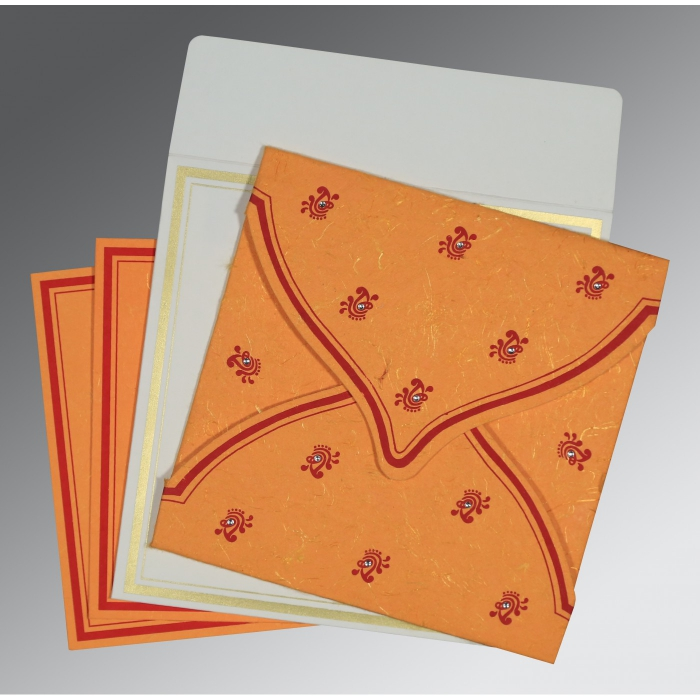 Orange Handmade Silk Unique Themed - Screen Printed Wedding Card : CD-8203J - 123WeddingCards