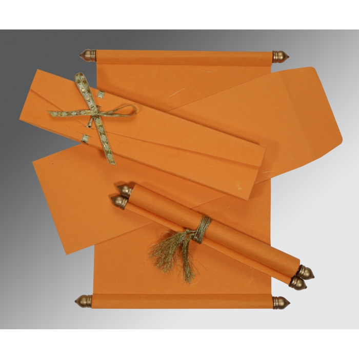 Orange Handmade Silk Wedding Card : SC-5001H - 123WeddingCards