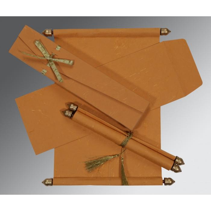 Orange Handmade Silk Wedding Card : SC-5001M - 123WeddingCards