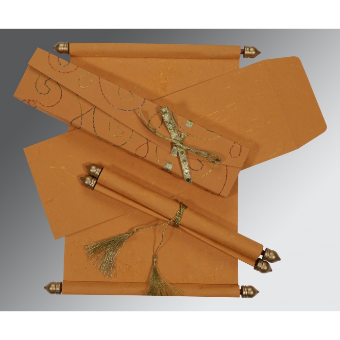 Orange Handmade Silk Wedding Card : SC-5002L - 123WeddingCards