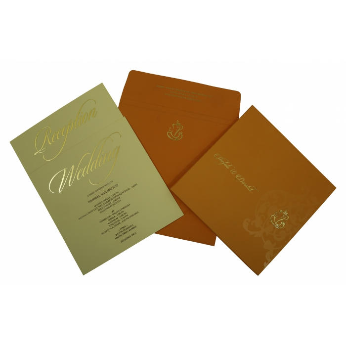 COPPER MATTE BOX THEMED - SCREEN PRINTED WEDDING INVITATION : D-1831 - 123WeddingCards
