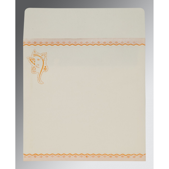VIVID ORANGE MATTE EMBOSSED WEDDING INVITATION : IN-2214 - 123WeddingCards