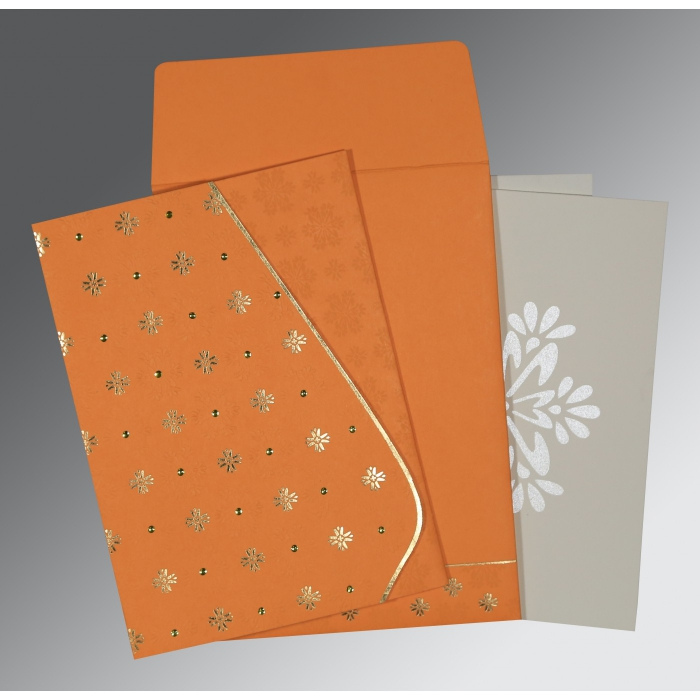 Orange Matte Floral Themed - Foil Stamped Wedding Invitation : IN-8237K - 123WeddingCards