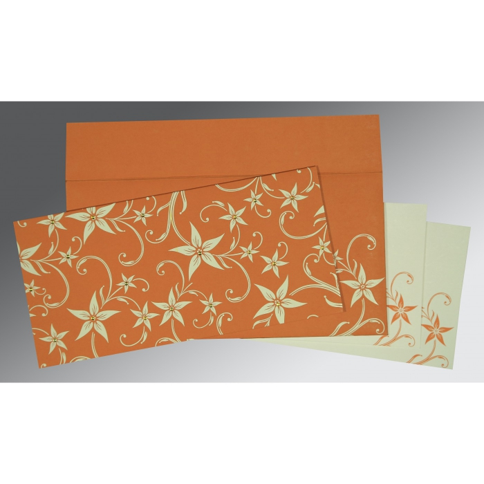 BURNT ORANGE MATTE FLORAL THEMED - SCREEN PRINTED WEDDING INVITATION : D-8225J - 123WeddingCards