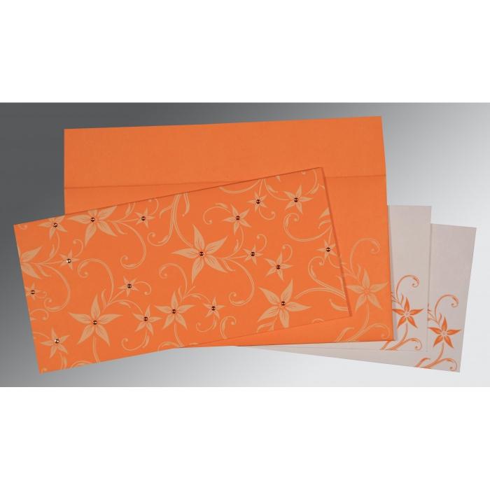 Orange Matte Floral Themed - Screen Printed Wedding Invitation : RU-8225L - 123WeddingCards