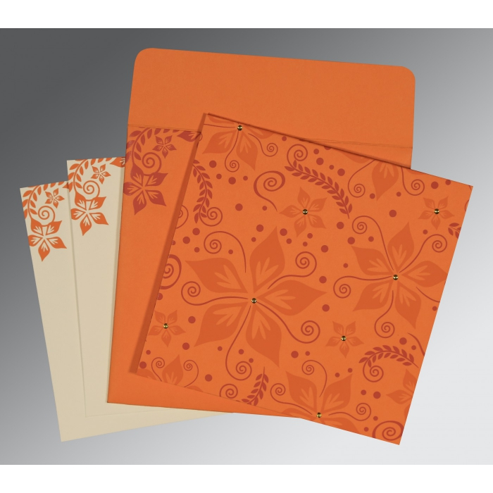 Orange Matte Floral Themed - Screen Printed Wedding Invitation : S-8240K - 123WeddingCards