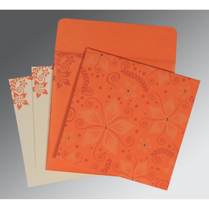 Orange Matte Floral Themed - Screen Printed Wedding Invitation : S-8240M - 123WeddingCards