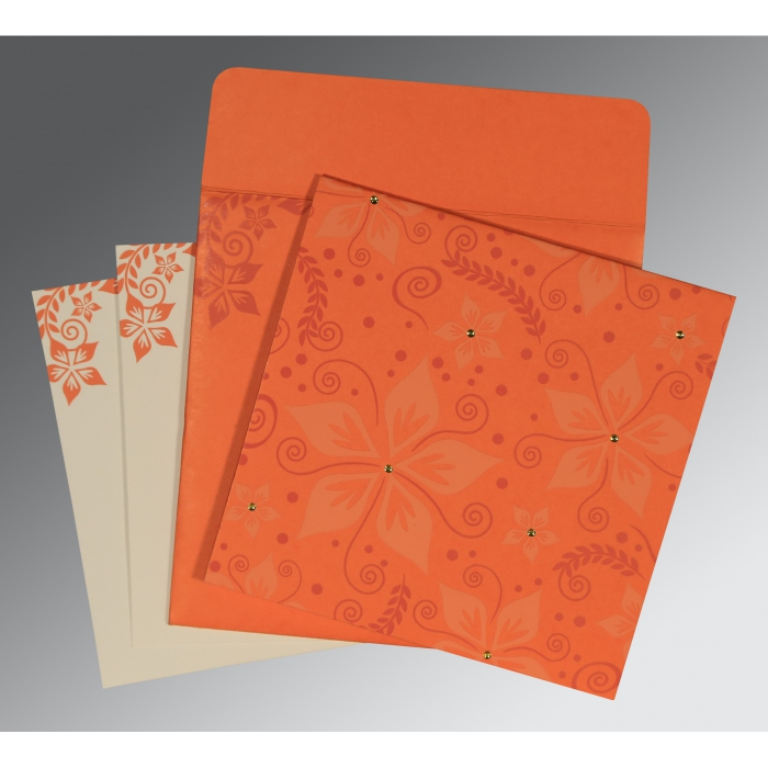 Orange Matte Floral Themed - Screen Printed Wedding Invitation : SO-8240M - 123WeddingCards