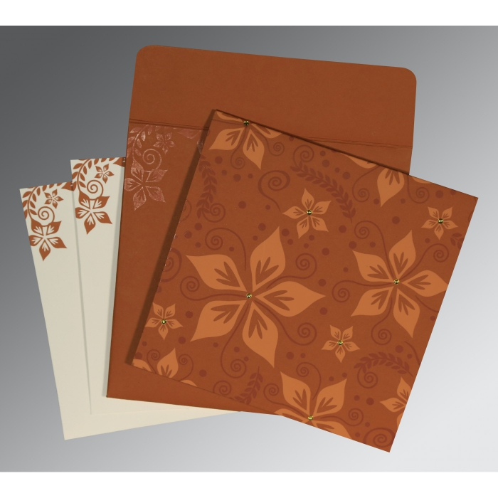 BROWN MATTE FLORAL THEMED - SCREEN PRINTED WEDDING INVITATION : W-8240L - 123WeddingCards