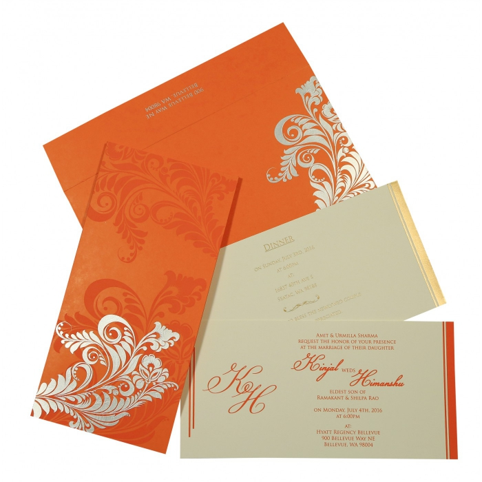 VIVID ORANGE MATTE FLORAL THEMED - SCREEN PRINTED WEDDING CARD : W-8259D - 123WeddingCards