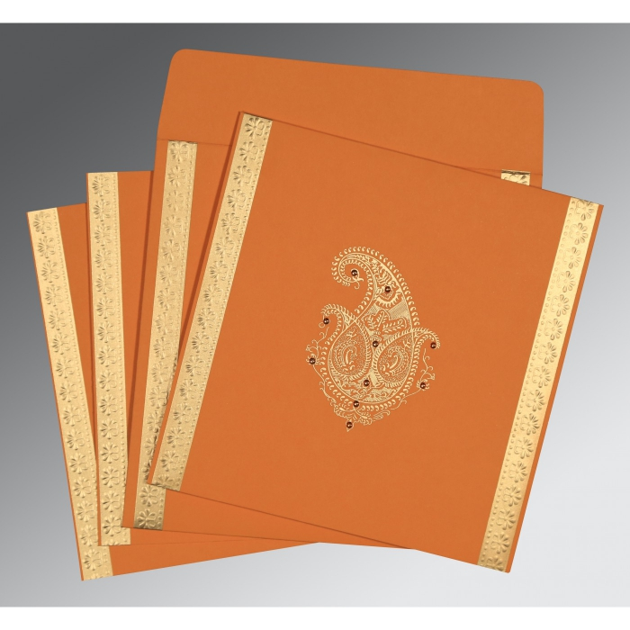 ORANGE MATTE PAISLEY THEMED - EMBOSSED WEDDING INVITATION : C-8231N - 123WeddingCards