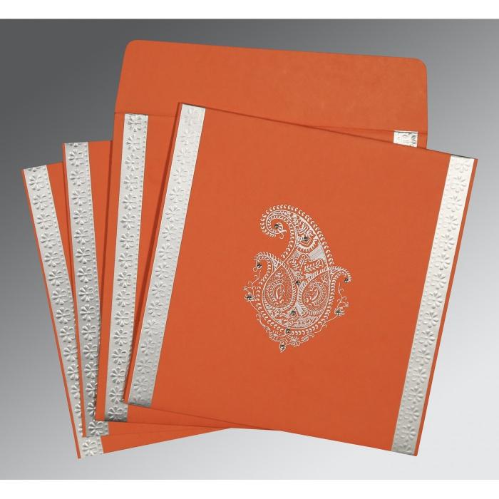 Orange Matte Paisley Themed - Embossed Wedding Invitation : W-8231M - 123WeddingCards