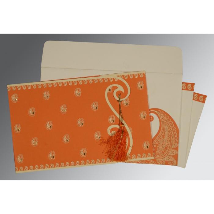 Orange Matte Paisley Themed - Screen Printed Wedding Invitation : IN-8252D - 123WeddingCards