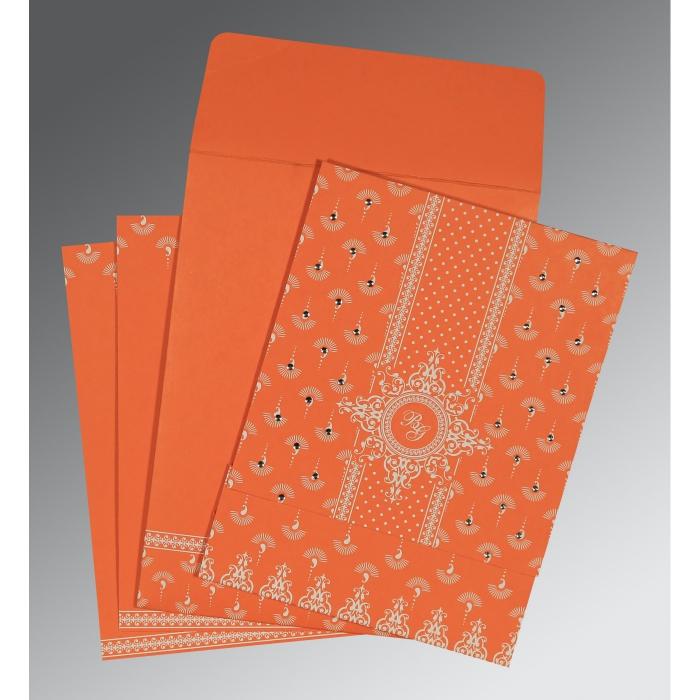 Orange Matte Screen Printed Wedding Invitation : SO-8247I - 123WeddingCards