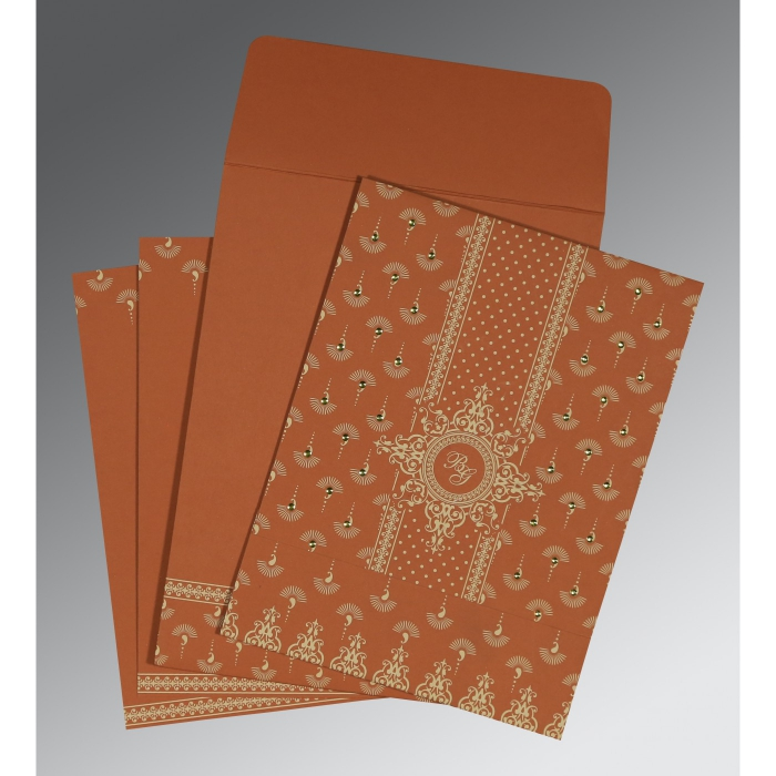 BURNT ORANGE MATTE SCREEN PRINTED WEDDING INVITATION : W-8247F - 123WeddingCards