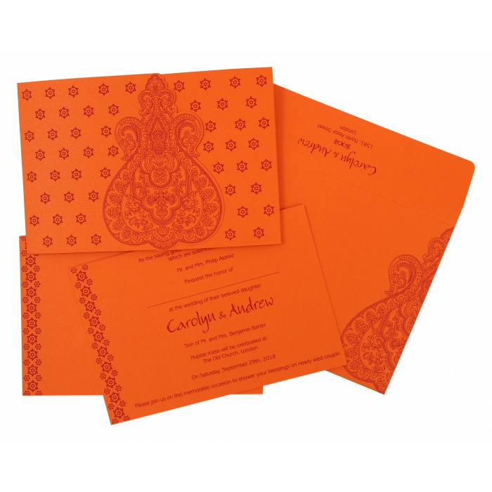 BURNT ORANGE PAISLEY THEMED - SCREEN PRINTED WEDDING INVITATION : W-801D - 123WeddingCards