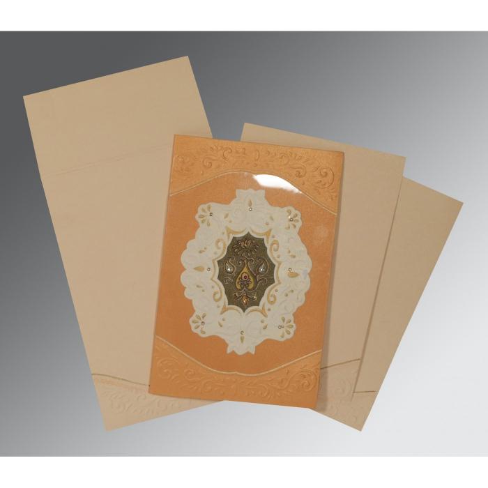 LIGHT ORANGE SHIMMERY BOX THEMED - EMBOSSED WEDDING INVITATION : IN-1367 - 123WeddingCards