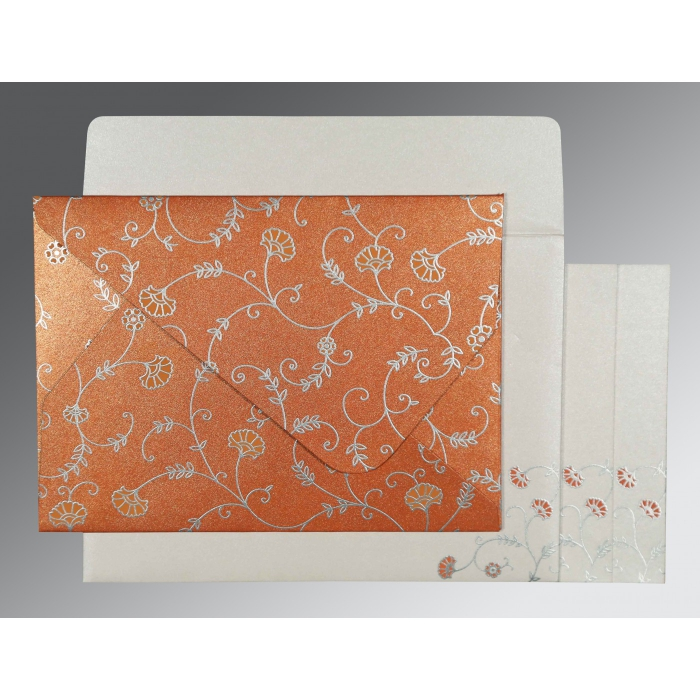 PEACH SHIMMERY FLORAL THEMED - SCREEN PRINTED WEDDING INVITATION : C-8248E - 123WeddingCards