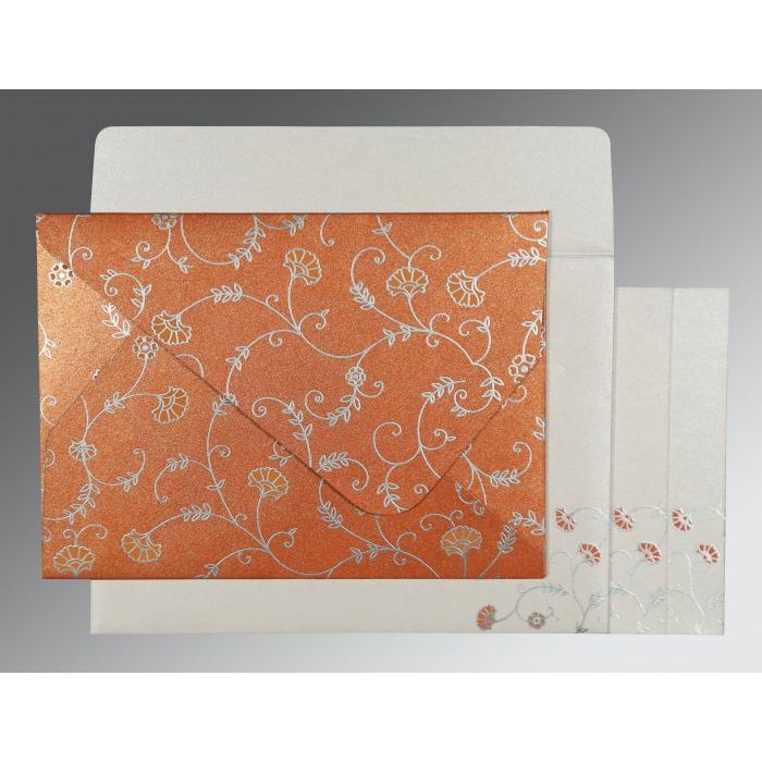 Orange Shimmery Floral Themed - Screen Printed Wedding Invitation : RU-8248E - 123WeddingCards