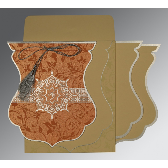 Orange Shimmery Floral Themed - Screen Printed Wedding Card : S-8229I - 123WeddingCards
