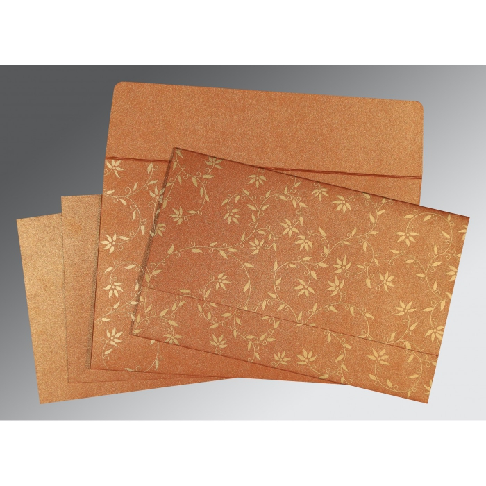 Orange Shimmery Floral Themed - Screen Printed Wedding Invitation : W-8226E - 123WeddingCards