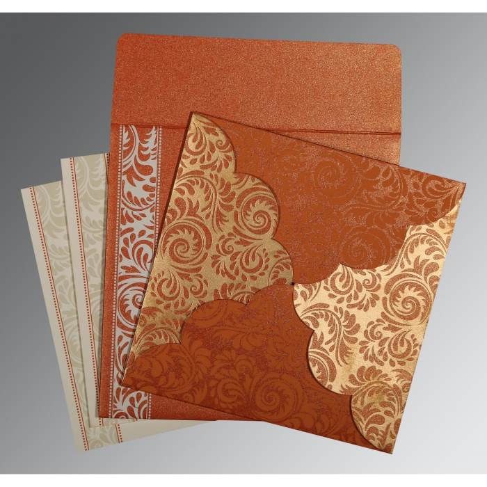 ORANGE SHIMMERY FLORAL THEMED - SCREEN PRINTED WEDDING CARD : W-8235G - 123WeddingCards