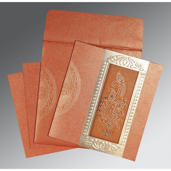BURNT ORANGE SHIMMERY PAISLEY THEMED - FOIL STAMPED WEDDING INVITATION : W-8230T - 123WeddingCards
