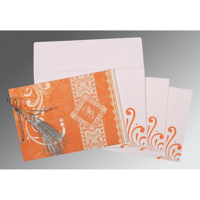 Orange Shimmery Screen Printed Wedding Card : I-8223K - 123WeddingCards