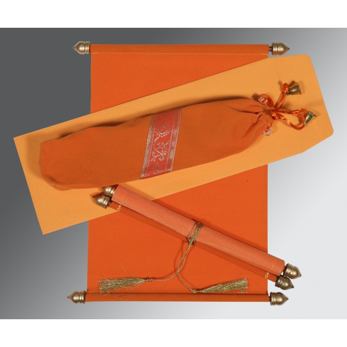Orange Velvet Wedding Invitation : SC-5004I - 123WeddingCards