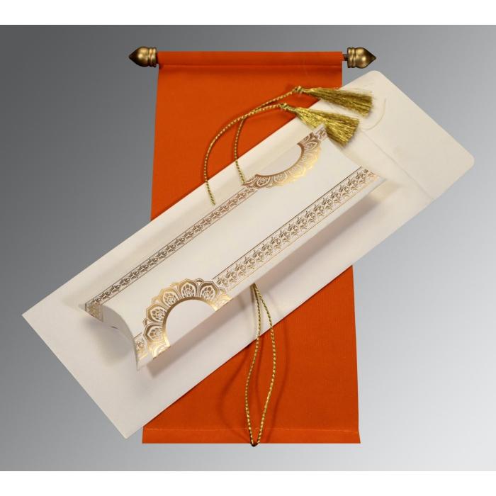 Orange Velvet Wedding Card : SC-5010I - 123WeddingCards