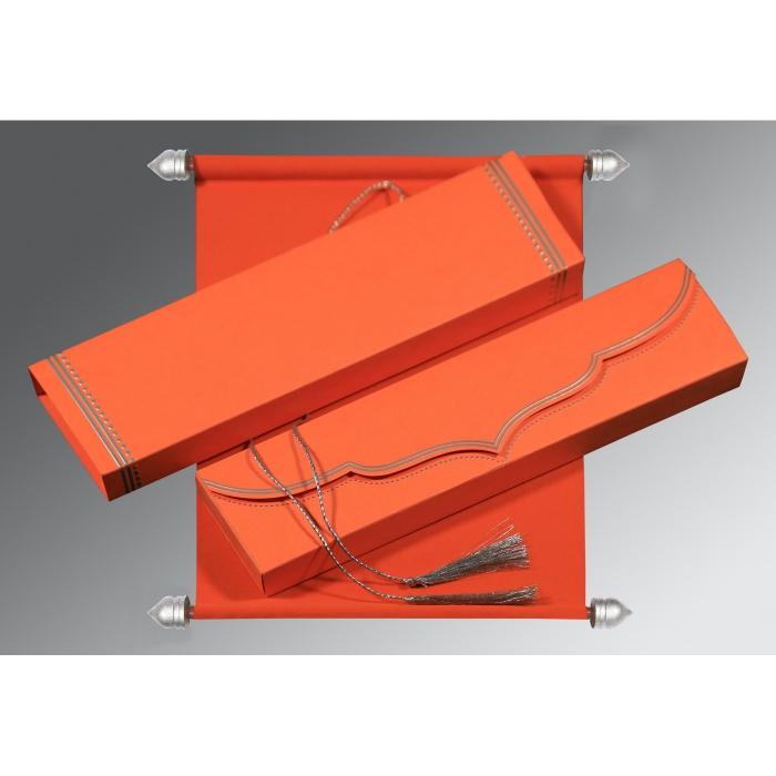 Orange Velvet Wedding Invitations : SC-5011E - 123WeddingCards