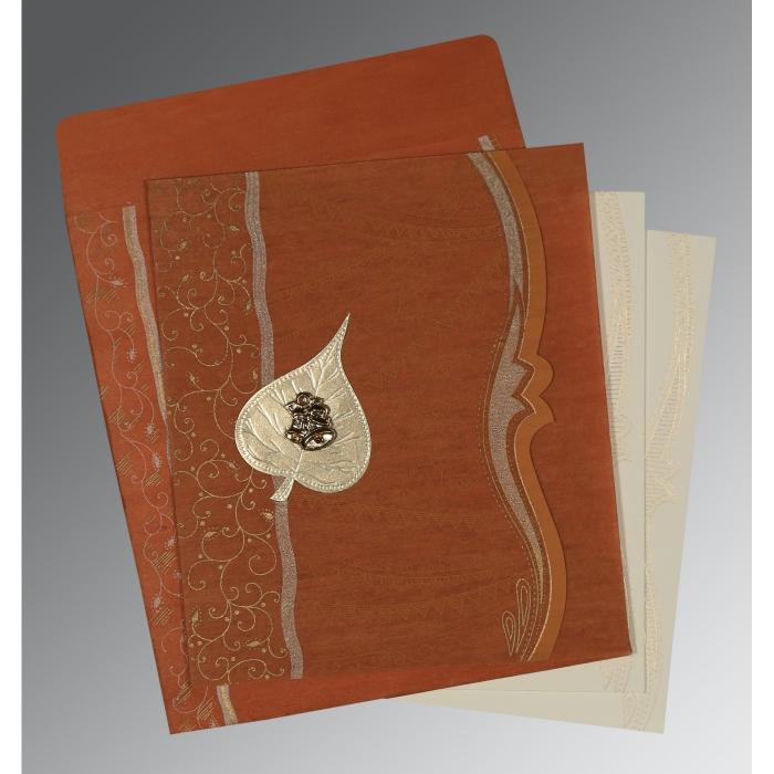 BURNT ORANGE SHIMMERY EMBOSSED WEDDING CARD : C-8210D - 123WeddingCards
