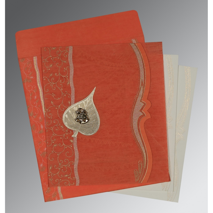 CORAL SHIMMERY EMBOSSED WEDDING CARD : C-8210F - 123WeddingCards
