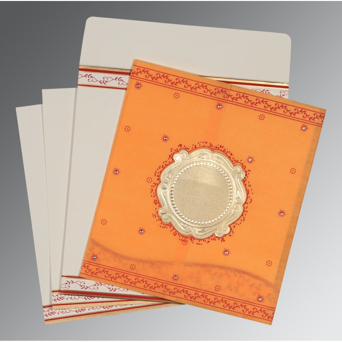 Orange Wooly Embossed Wedding Invitation : D-8202B - 123WeddingCards