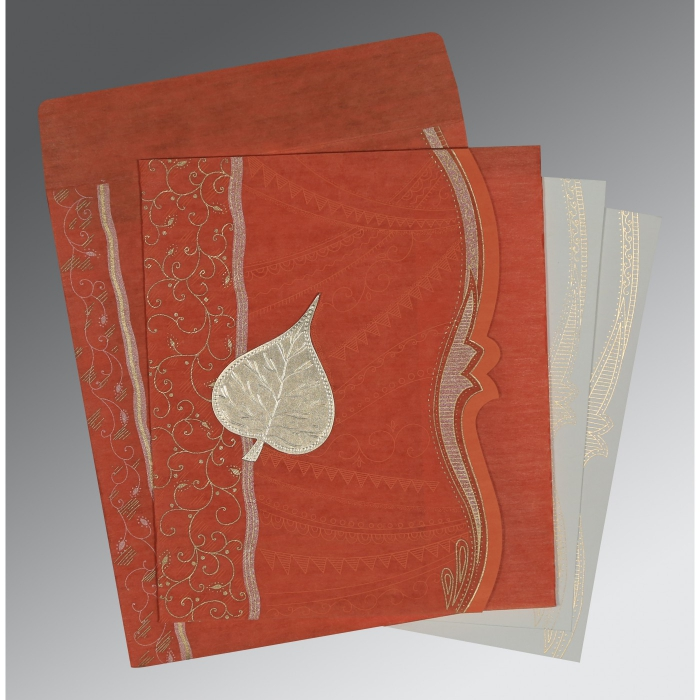 BURNT ORANGE SHIMMERY EMBOSSED WEDDING CARD : D-8210D - 123WeddingCards