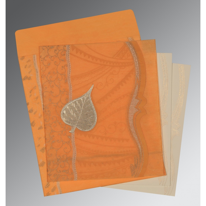Orange Wooly Embossed Wedding Card : D-8210L - 123WeddingCards