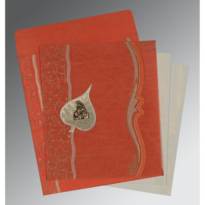 Orange Wooly Embossed Wedding Invitations : G-8210F - 123WeddingCards
