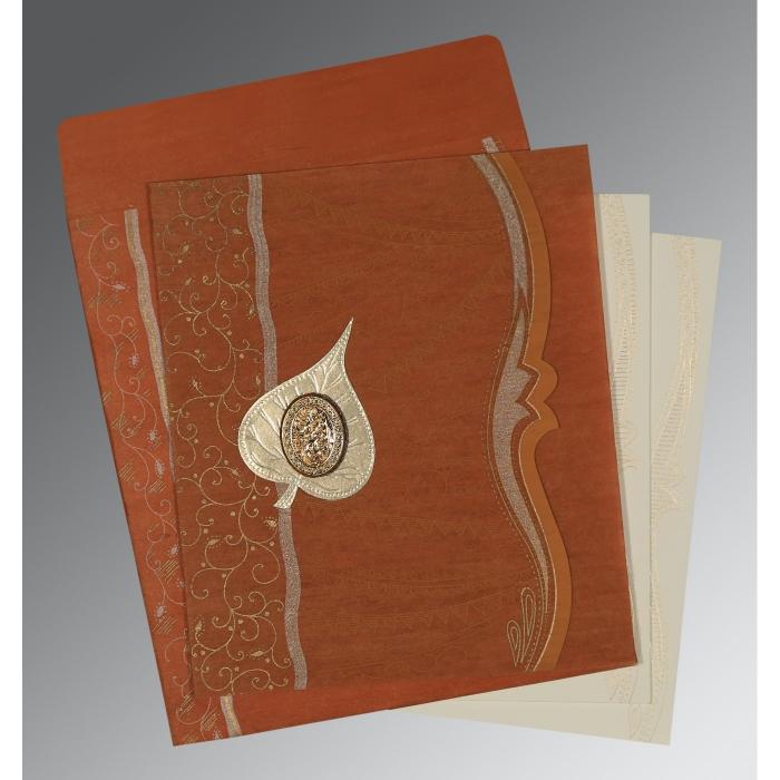 Orange Wooly Embossed Wedding Card : I-8210D - 123WeddingCards