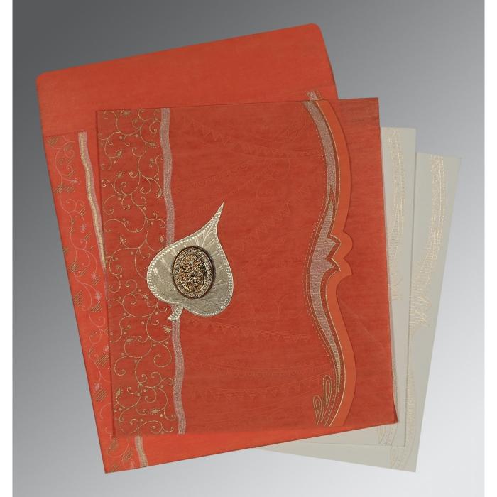 Orange Wooly Embossed Wedding Card : I-8210F - 123WeddingCards