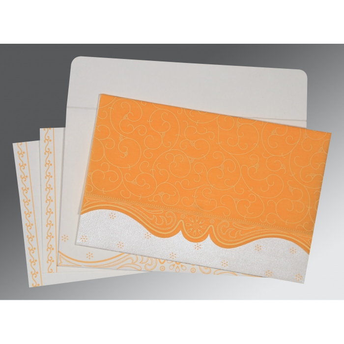 VIVID ORANGE MATTE EMBOSSED WEDDING INVITATION : IN-8221F - 123WeddingCards