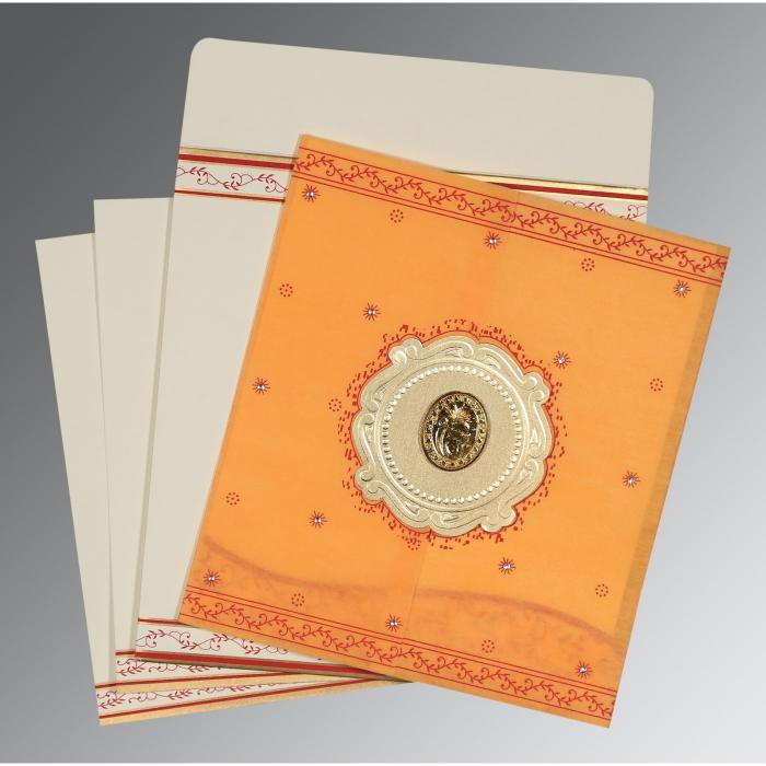Orange Wooly Embossed Wedding Invitation : RU-8202B - 123WeddingCards
