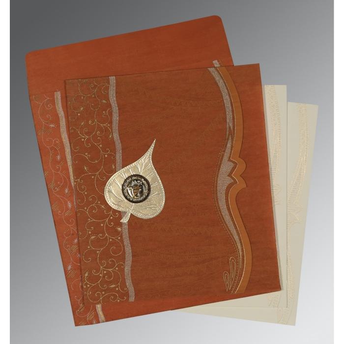 Orange Wooly Embossed Wedding Card : RU-8210D - 123WeddingCards