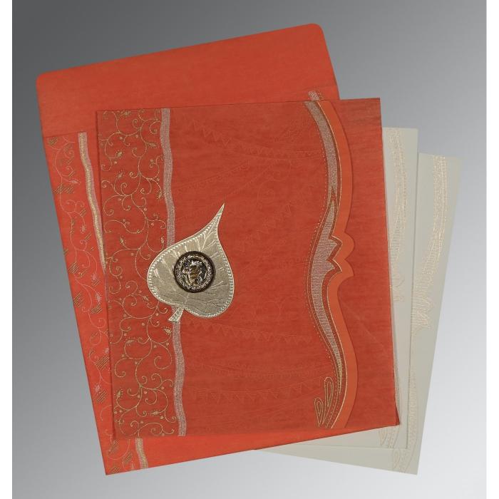 Orange Wooly Embossed Wedding Card : RU-8210F - 123WeddingCards