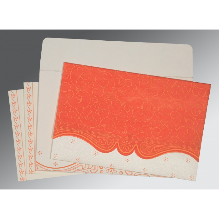 Orange Wooly Embossed Wedding Invitation : RU-8221L - 123WeddingCards