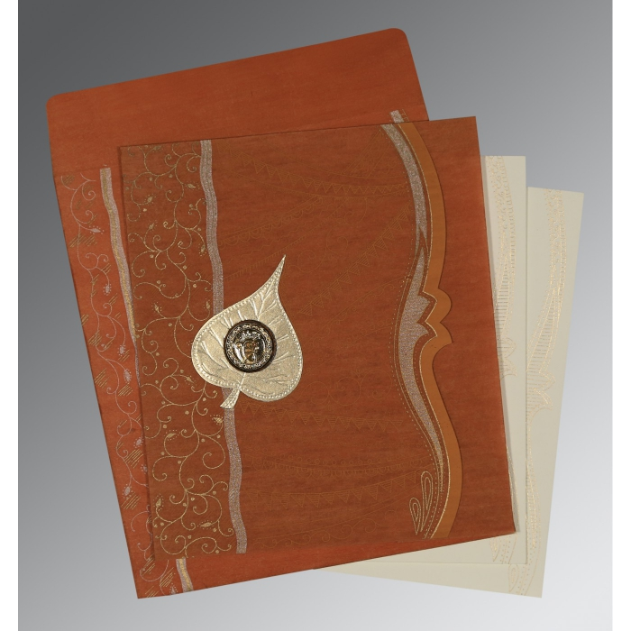 Orange Wooly Embossed Wedding Card : S-8210D - 123WeddingCards