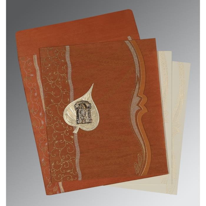 Orange Wooly Embossed Wedding Card : SO-8210D - 123WeddingCards