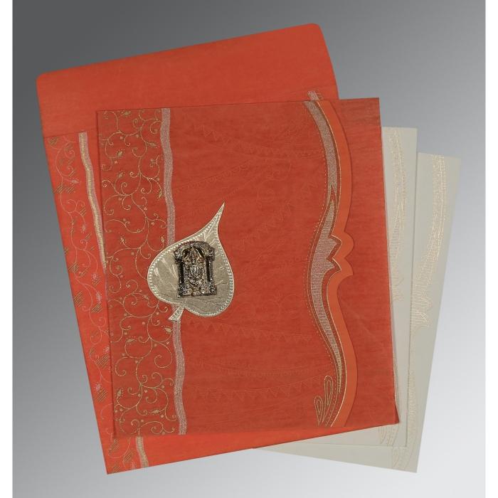 Orange Wooly Embossed Wedding Card : SO-8210F - 123WeddingCards