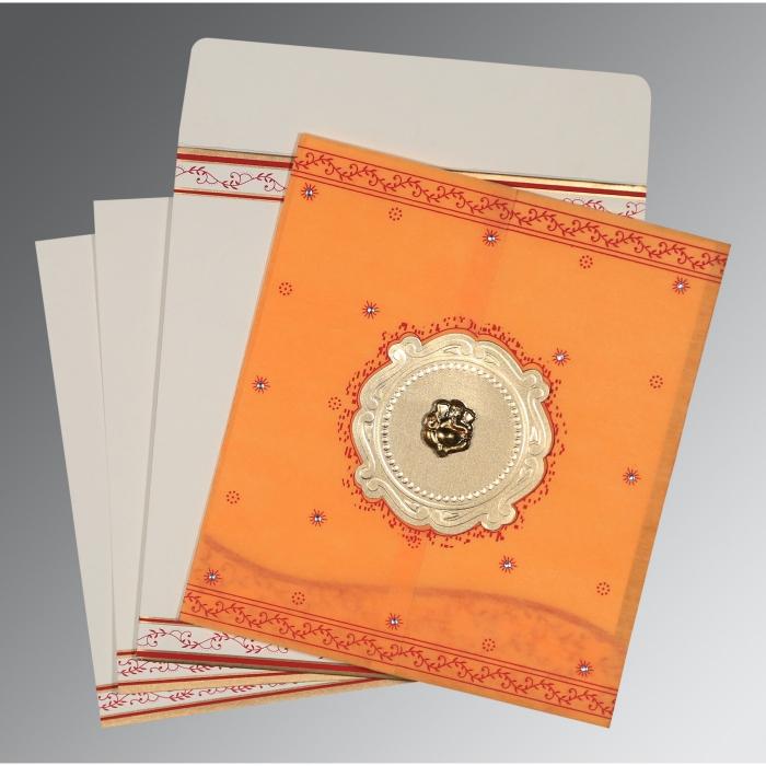 Orange Wooly Embossed Wedding Invitation : W-8202B - 123WeddingCards
