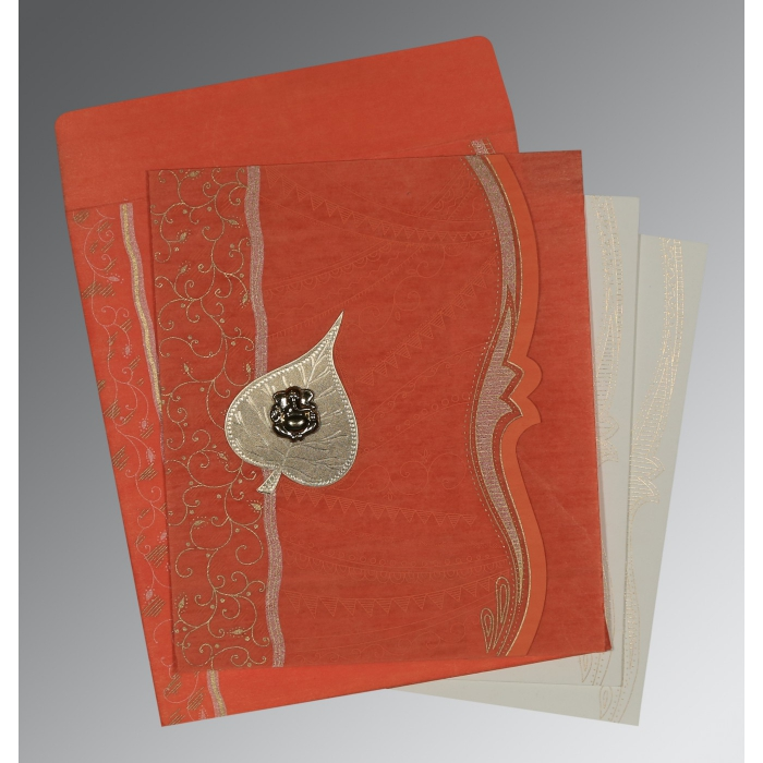 CORAL SHIMMERY EMBOSSED WEDDING CARD : W-8210F - 123WeddingCards